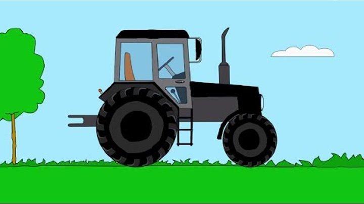 Песенки для детей - Синий трактор едет - мультки про машинки серия 4