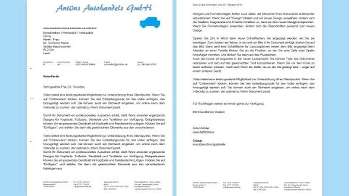 Word 2013 2016 Geschäftsbrief Erstellen Professionelles Anschreiben Din 5008 Muster Vorlage