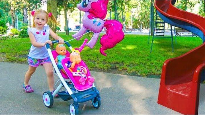 Настя КАК МАМА и Куклы Беби Бон на детской площадке в парке Забавный инцидент