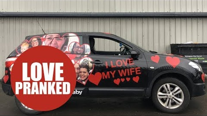 Man sees his car after wife secretly wrapped it in pictures of her FACE