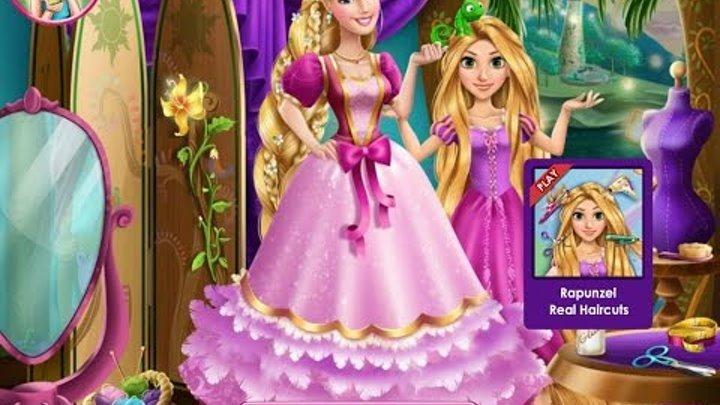 Игры для девочек—Рапунцель шьет платье для Барби—Мультфильмы Игры Онлайн Для Детей