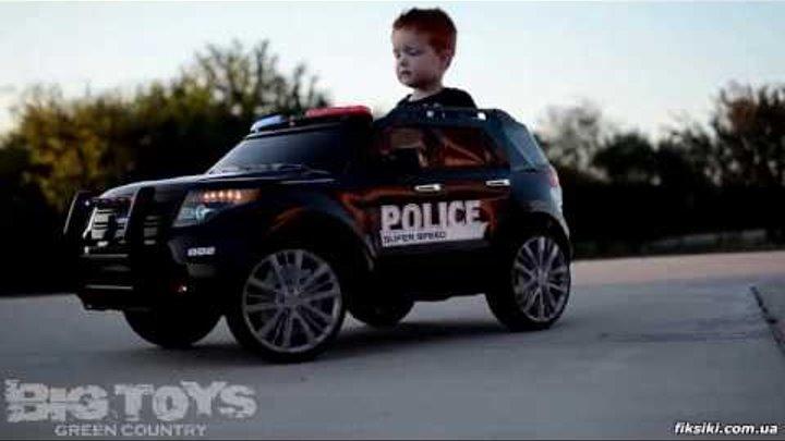 Детский электромобиль джип M 3259 EBLR-4, Полиция, синий - fiksiki.com.ua