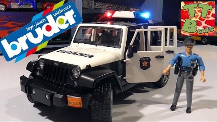 BRUDER Полицейская машинка Джип. Распаковка игрушки Брудер от Игорька BRUDER Jeep Wrangler Rubicon
