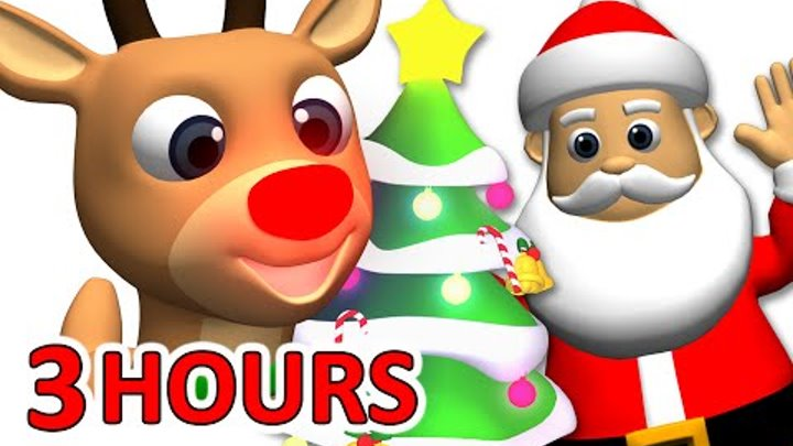 """""""Kids Christmas Songs"""" 3 Hours   Rudolf, Santa Claus, Frosty & More, Children Busy Beavers"""