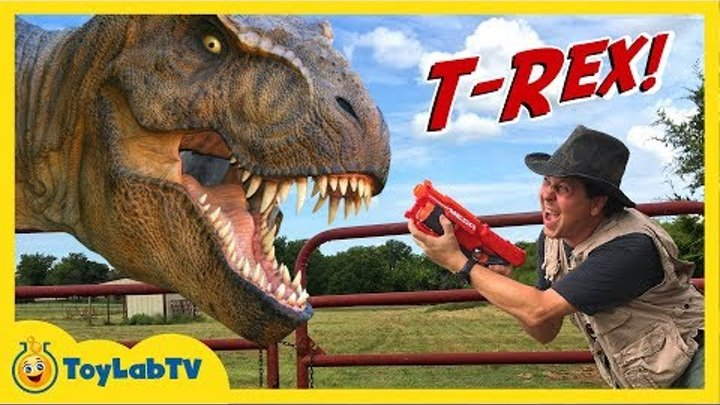 Giant Life Size T-Rex Dinosaur & Park Ranger Aaron in Jurassic Adventure Family Friendly Video