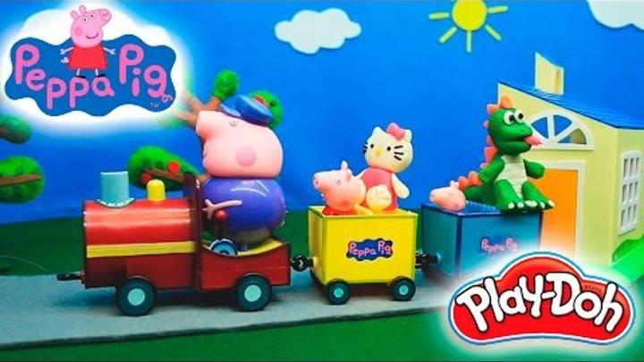 Свинка Пеппа Развивающие мультики для детей Лепим из пластилина Плей До Хелло Китти и Динозавра