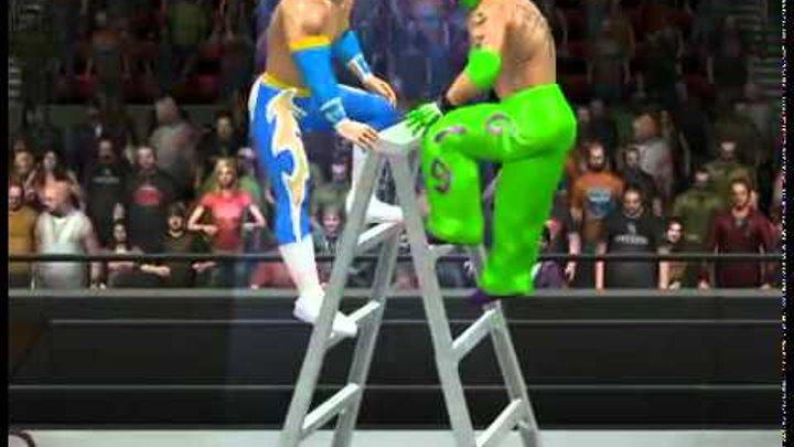 WWE SmackDown vs. RAW 2011 - Rey Mysterio vs Sin Cara (c) - TLC Match 1/3