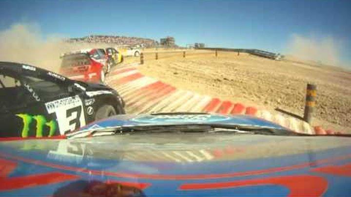 Tanner Foust wins Rallycross Supercars A final in Portugal 2011 with teh Rockstar Fiesta