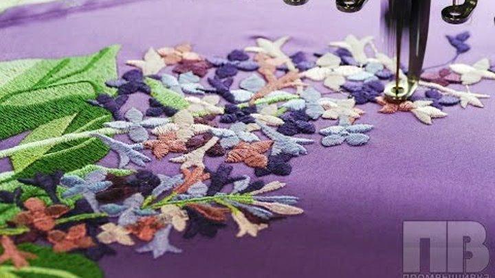 Машинная вышивка цветов на платье