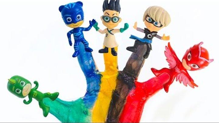Семья пальчиков ГЕРОИ В МАСКАХ на русском языке PJ MASKS finger family Мультики Учим цвета для детей