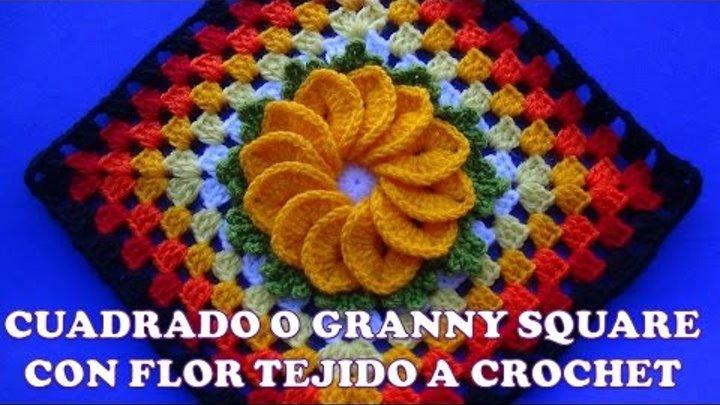 Cuadrado O Granny Square A Crochet Para Colchas Y Cubrecamas Con