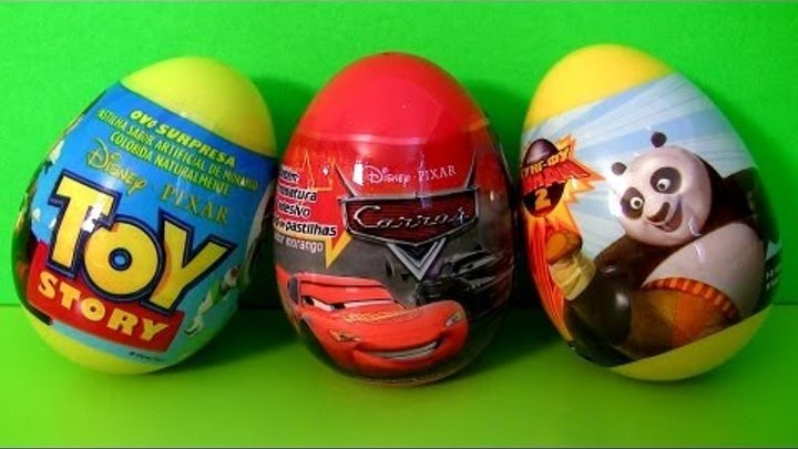 3 Surprise Eggs Disney Cars 2 Pixar Toy Story TOYS Kung Fu Panda Unboxing Sorpresa Huevos Toy Review