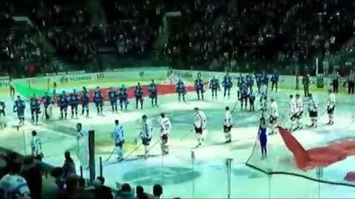 22 02 2015 Гимн и выход игроков на лёд ХК Динамо Минск - ХК Динамо Рига 1-0