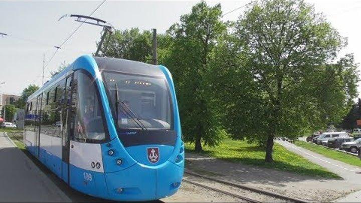 "FHD. Новый трамвай T4UA ""VinWay"" №109 на маршруте №2.Эпизод 11.Технический университет–Барское шоссе"