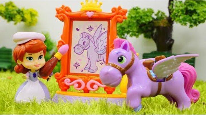Игрушки для детей ПРИНЦЕССА СОФИЯ 👸 Мультик с игрушками: София Прекрасная рисует коняшку! #Куклы