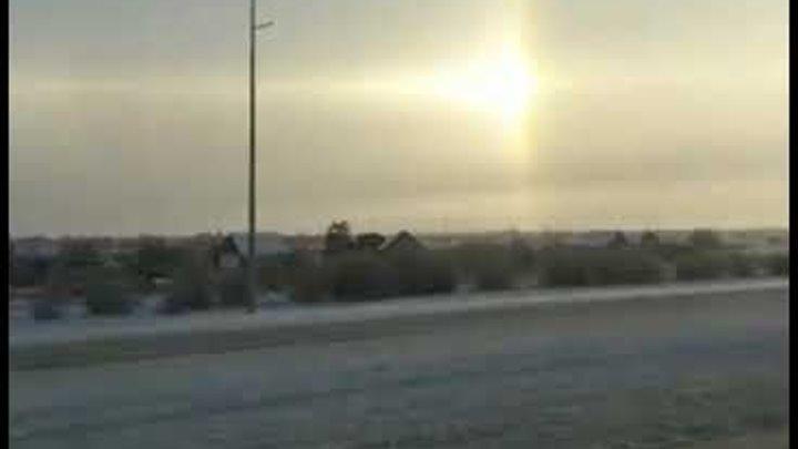 3 солнца в Караганде невероятно!!!! Фантастика! Как другой мир