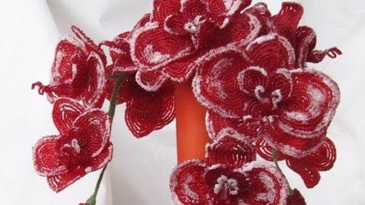 """Букет орхидей из бисера """"Рождественский поцелуй"""""""