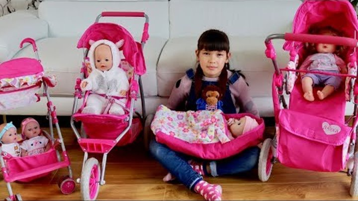 Baby Born Baby Annabell and Dolls Stroller Pram Toys - Little girl pretend play with Baby Dolls