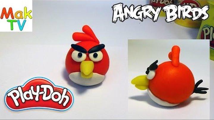 Как слепить Энгри бердс (красная птица) из пластилина Плей До. How to make a Red Angry Birds.