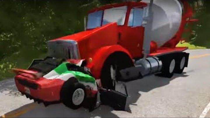 Cement Mixer Truck vs car | BeamNG Drive car crashes compilation | Cars crash test