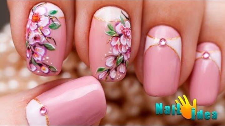 """Дизайн ГЕЛЬ ЛАКАМИ """"Ветка Сакуры""""   Рисунок на ногтях цветы   Урок росписи ногтей   One Stroke"""