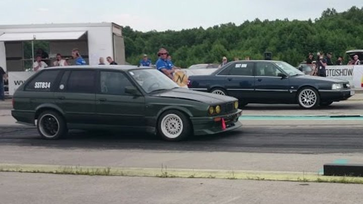 Audi 200 2.2T 20V vs BMW E30 325i Touring Turbo 1/4mile drag race