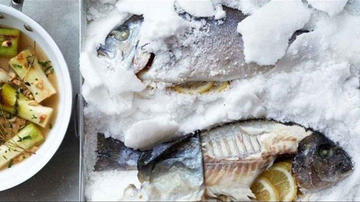 Запеченная в соли дорада с пореем и фундуком - Рецепт от Гордона Рамзи