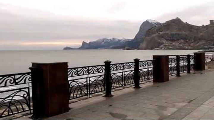 Крым, Судак, Набережная, море, чайки и закат. Январь, 2017