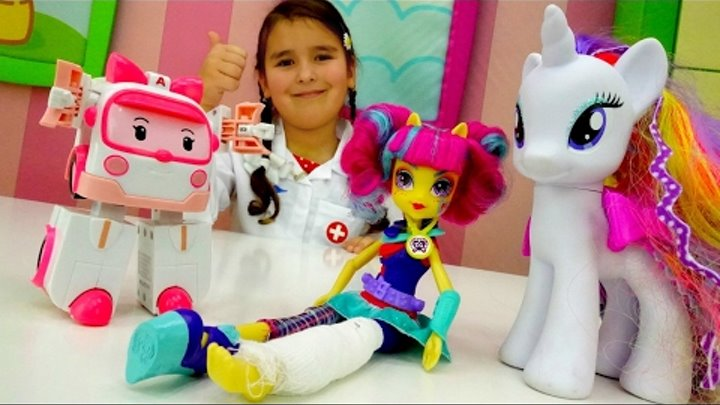 Игрушки Май Литл Пони и Робокар Поли у доктора! Игры в больницу. Видео для девочек