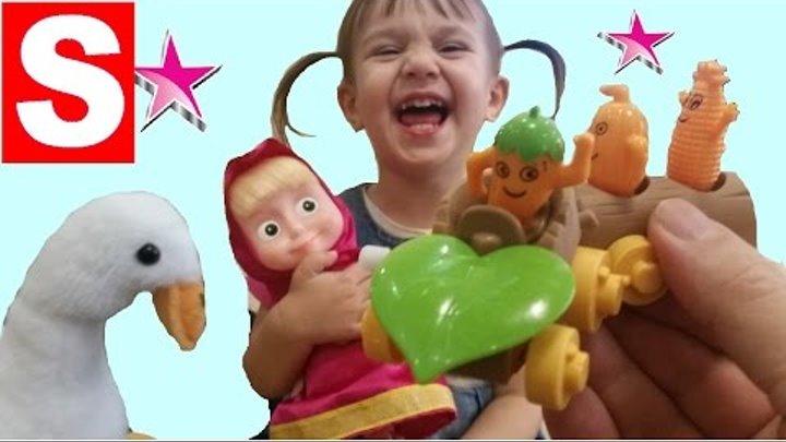 Веселый заводной паровозик с маленькими героями, Маша и Гусенок Га Га Га. Видео для детей