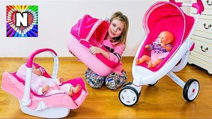 ДЕТСКАЯ КОЛЯСКА 3 в 1 Дочки матери с Куклой Беби Бон НАСТЯ КАК МАМА Funny Baby Playing with Doll
