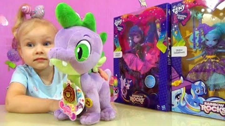 Спайк Май Литл Пони Трикси и Искорка Эквестрия Гёрл Spike My little Pony Trixie and Sparkle