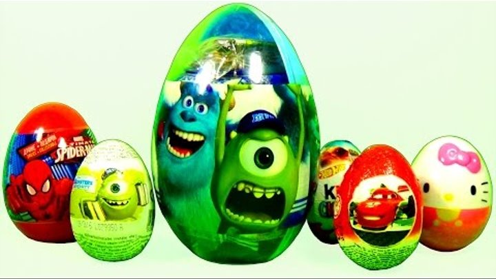 BIG surprise egg Monsters University Disney Cars HELLO KITTY Kinder Surprise MARVEL SPIDERMAN eggs