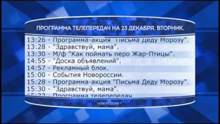 """Программа телепередач канала """"Новороссия ТВ"""" на 23.12.2014"""