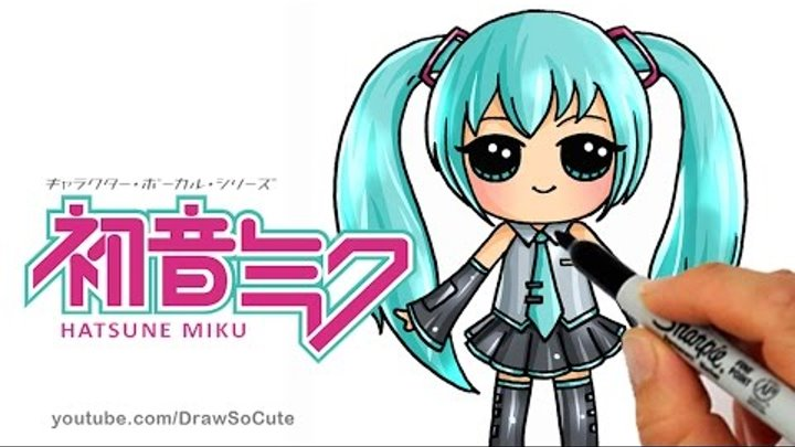 How to Draw Hatsune Miku step by step Chibi - Cute Japanese Anime Girl