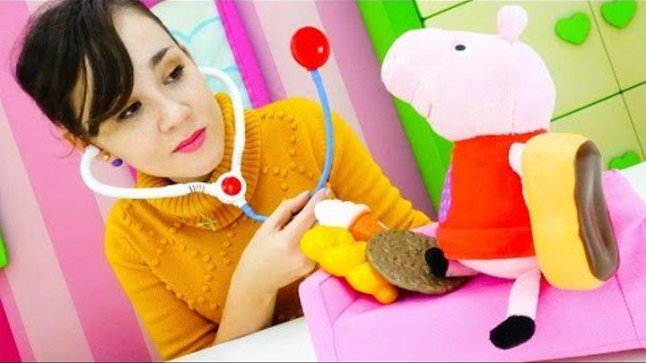 Игры для детей – больничка и клиника для игрушек. Игрушка Свинка Пеппа. Аллергия на сладкое