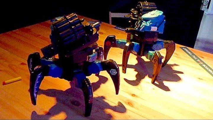 Робототехника. Роботы Пауки. Стреляющие Роботы Пауки. Перестрелка Роботов