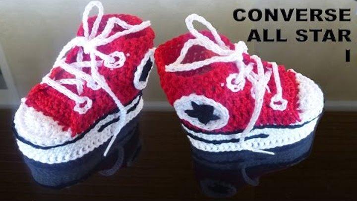 Модные пинетки- кеды Converse All Star для новорожденного I (подошва) / Вяжем крючком для детей