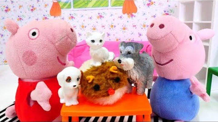 Детское видео - Про Пеппу - Джордж принес котят и щенят