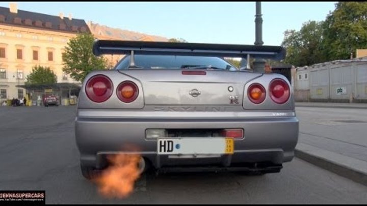 Nissan Skyline R34 GT-R CRAZY Ride Revs, FLAMES!!!!