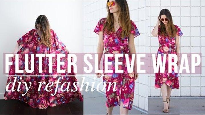 DIY flutter sleeve wrap dress refashion