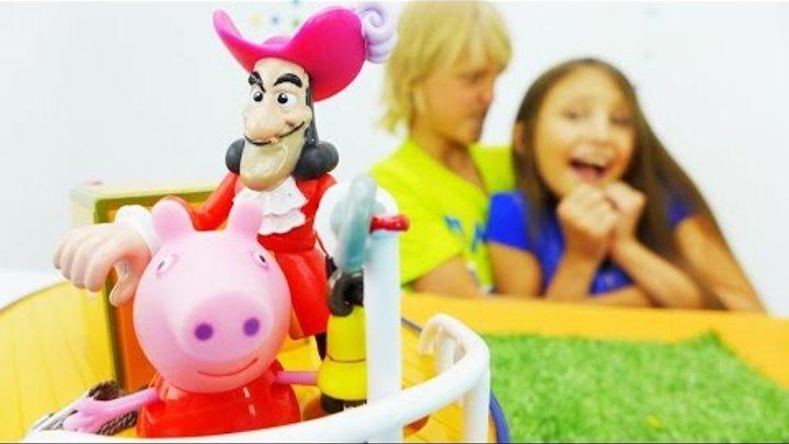 Рассказы, сказки и игрушки для детей. Видео с игрушками Свинка Пеппа и Капитан Крюк.
