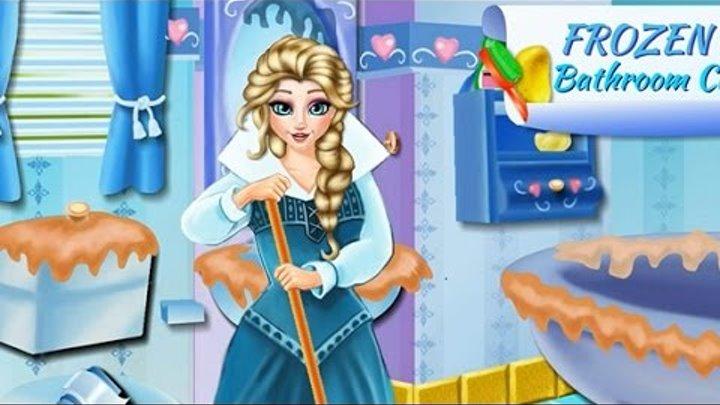 NEW Игры для детей—Disney Эльза Холодное сердце Уборка в ванной—Мультик Онлайн Видео Игры девочек