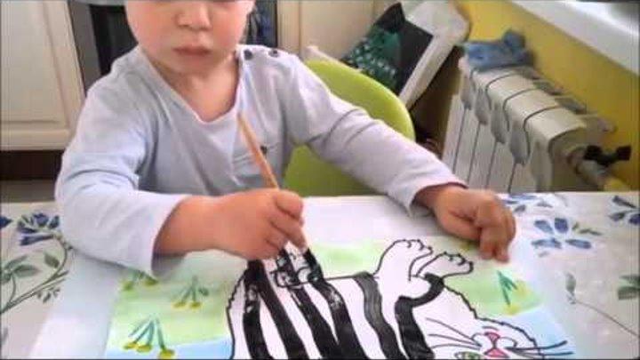 """Занимаемся с детьми дома - ВАСЯ - 2г 5 мес. Рисование красками """"Котёнок"""""""