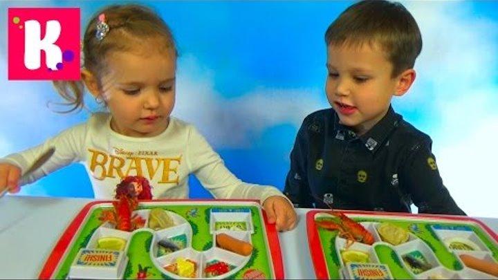 Чемпион обеда Макс и Катя кушают на скорость в награду Тетрис Dinner Winner meal competitions