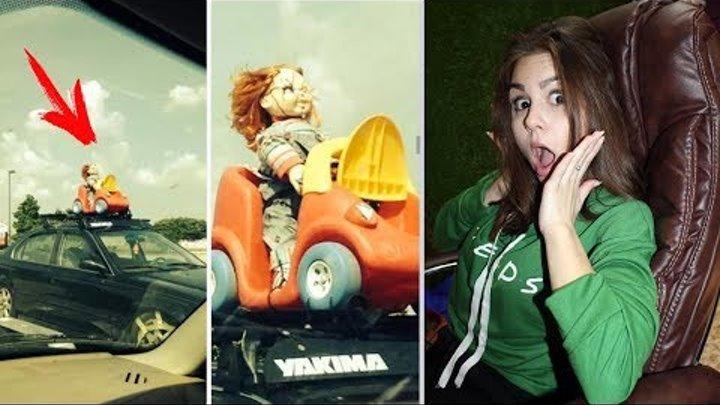 СМЕШНЫЕ ФОТО ПРИКОЛЫ из жизни! Кукла Чаки на крыше автомобиля! Засмеялся или улыбнулся проиграл!