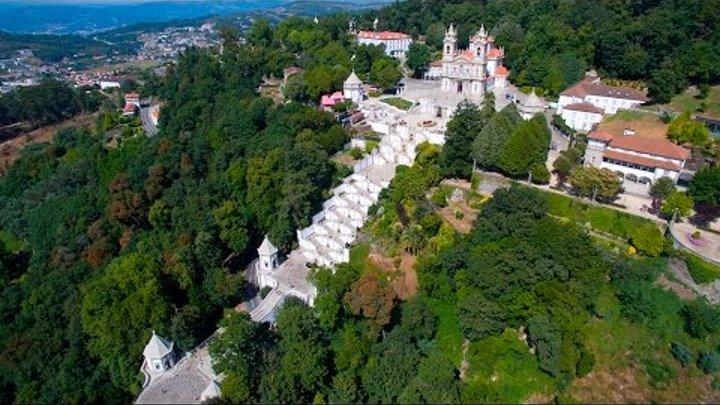 Santuário do Bom Jesus do Monte vista aérea - Bom Jesus do Monte Sanctuary aerial view - 4K Ultra HD