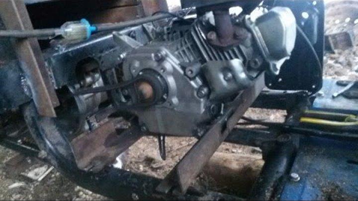 Мотороллер муравей с двигателем от мотоблока, работа движка. часть 2