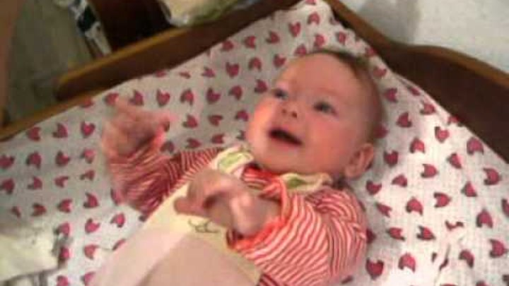 baby laughing at tearing paper Ripping paper has never given anyone as much joy as it gives this adorable baby.