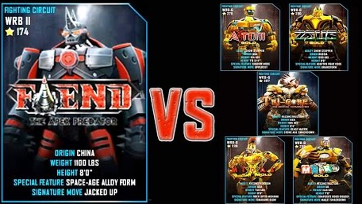 Real Steel WRB FINAL Fiend VS GOLD ROBOTS Series of fights NEW ROBOT (Живая Сталь)
